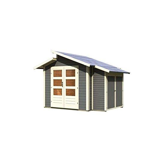 Karibu Gartenhaus Grönelo mit Anbauschrank terragrau 28 mm