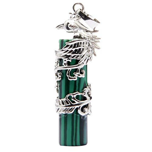 Colcolo Elegante Colgante Cilíndrico Animal Phoenix de Piedras Preciosas para Collares - Verde Oscuro, Individual