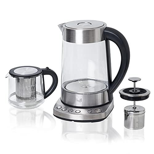 """Impolio Hervidor de agua de cristal con ajuste de temperatura, colador de té y accesorio para tetera """"Kand"""" probado por TÜV Süd"""