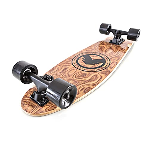 Black Longboards Collection | Longboard Skateboard Complete | Exotic Wood with Canadian Maple Core | Cruising, Carving, Freestyle, Dancing, Downhill, Freeride (Dagger (Small))
