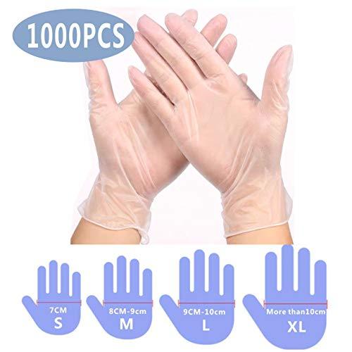 Guantes desechables azul 100 piezas de PVC de vinilo Transparentes Sin látex,Sin polvo,Home Limpieza ,Lavado de platos Guantes desechables(Caja Grande de Contiene 100 ) (L)