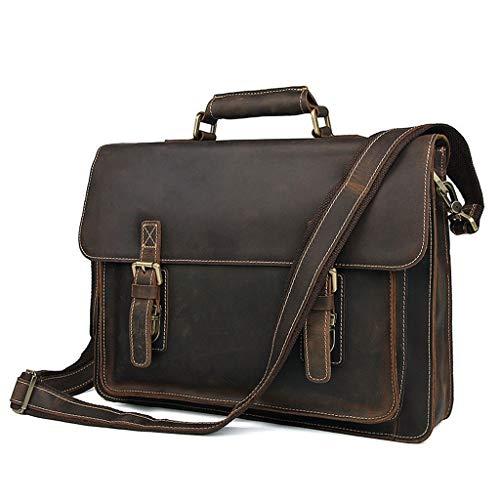 RFJJAL Ledertasche Herren Business University Vintage Umhängetasche Crossbody Messenger Bag Laptop 15,6 Zoll In Echtem Leder, Farbe: Braun