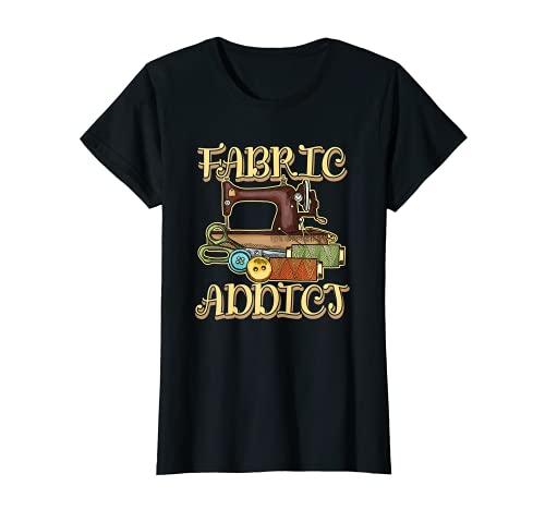Damen FABRIC ADDICT für eine Schneiderin Näherin Hobbyschneiderin T-Shirt