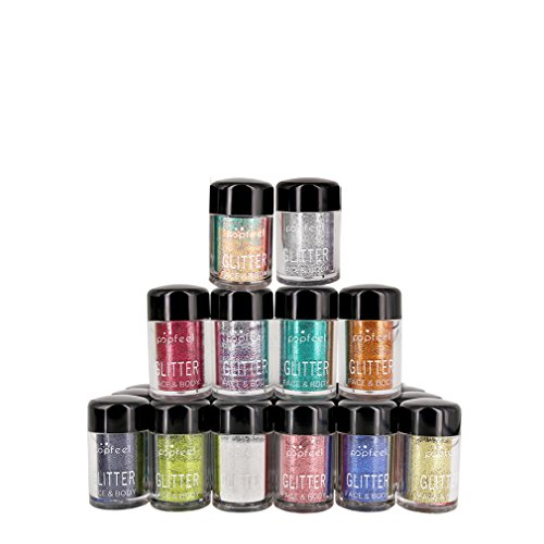 CFtrum 12 Flaschen Glitter Powder Langanhaltende Lidschatten Glitzer Puder Hoch Pigmente, 1er Pack