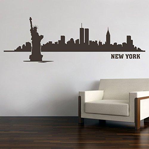 New York City Skyline Freiheitsstatue Wandtattoo Wandaufkleber Wandsticker Wohnzimmer Kinderzimmer Aufkleber Sticker M4 (100 x 32 cm, Schwarz)
