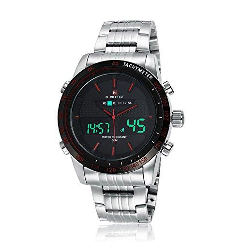 Naviforce reloj de moda Hombre de acero inoxidable reloj de pulsera analógico Digital con muti-functions (plata/rojo)