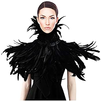 HOMELEX Gothic Black Natural Feather Cape Shawl with Choker Collar Halloween Costumes