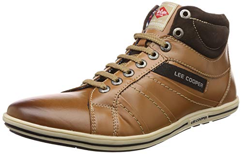Lee Cooper Men's Tan Leather Sneakers-6 UK/India (40 EU) (FGLC_8907788763559)