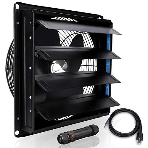 HUGOOME Ventilador de 12 pulgadas con conector para ático, tienda y garaje, ventilación comercial e industrial, montado en la pared