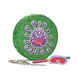 Lumaland Set de piñata para Rellenar, Palo Aprox 50 cm, Careta, 50 gr de Confeti - Virus morado 50 x 50 x 15 cm