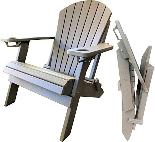 DuraWeather Poly Folding Adirondack - Unwind Edition Featuring Built-in Cup Holders (Weatherwood)