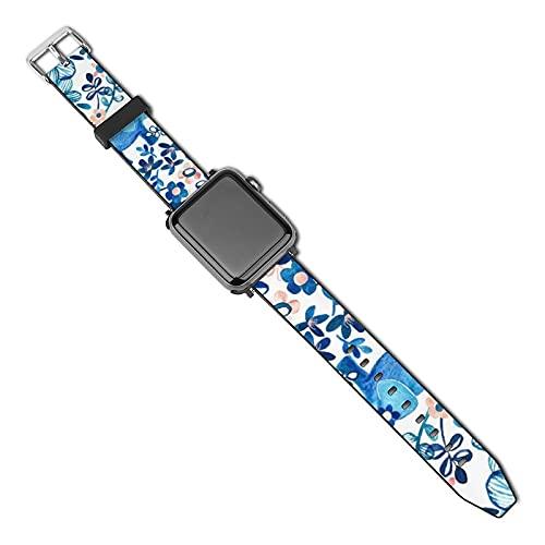 Correa de repuesto para reloj Apple Watch de 38 mm, 40 mm, correa de repuesto para iWatch Series 5/4/3/2/1, rubor rosa, blanco y azul elefante y acuarela floral