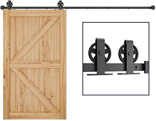 8FT/244CM Schiebetürbeschlag Set, Laufschienen für Schiebetür Hängeschiene Schiebetürsystem Laufschiene Tür Hardware Kit für Schiebetüren Innentüren Trennwände und Wandschränke