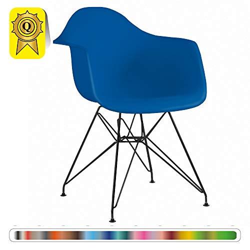 Decopresto 1 x Design-Sessel Eiffel Design Schwarze Beine Metal. Sitz Navy blau DP-DARB48-BM-1