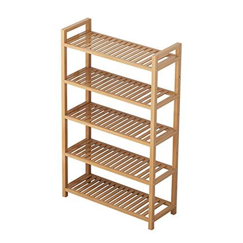 El almacenamiento en zapatero es simple y práctico Zapato Rack de 5 capas Zapatillas de bambú Zapatillas de almacenamiento de tacón alto Tacón de almacenamiento Hogar espacio de almacenamiento Sartel