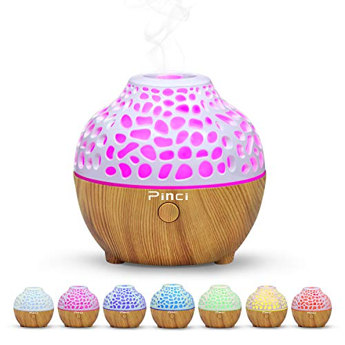 Pinci Essential Oil Diffuser,60ml Portable Mini Aromatherapy Diffusers,Cool Mist Vaporizer Humidifier with USB 7 LED Light Color,Waterless Auto Shut-Off for Girls Home Office Bedroom Travel