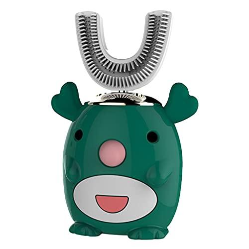 F Fityle Cepillo de dientes eléctrico inteligente de 360 ° para niños en forma de U, cepillo de dientes recargable de cinco modos, suministros de - Ciervo verde