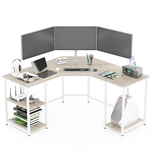 Earthsign L Shaped Home Office Desk with Four Shelves Storage, Spacious Corner Computer Desk for Working from Home, Workstation, Gaming, 56.96 Inch, with Wood Top (Beige + White Frame)