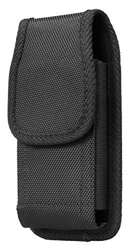 AQ Mobile Funda Cinturón Vertical para Móviles y Smartphones, Talla XL (para 6,5' Smartphone) Textil, Pinza de cinturón, Lazo para cinturón