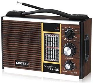 راديو ليوتك خشب كلاسيك، يعمل بدون كهرباء 12 شريط