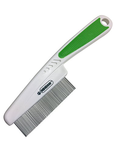 Pixikko Pet Fine spaced Pin Comb - 18mm Metal Pins Remove Flaky Skins, and Loose Hair