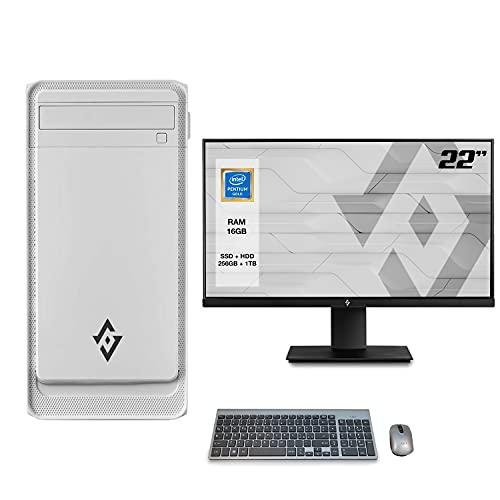 Pc desktop INTEL 4,10Ghz,Ram 16 Gb Ddr4, Ssd M.2 256 Gb, Hdd 1 TB,Lettore masterizzatore,Windows 10 Pro,Computer fisso,assemblato,completo Monitor 22' Fhd con accessori Desktop ssd,Pc fisso