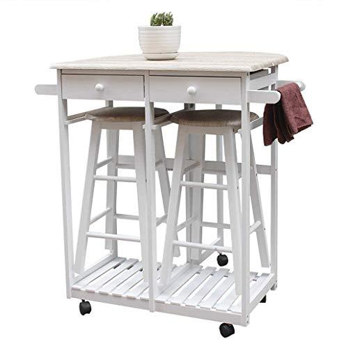 Isla de cocina con asientos, mesa de bar y sillas, plegable con mango de madera semicírculo cocina Mesa de comedor de compras con la Ronda de heces blancas, Gabinete w / estante de toalla Estantes de