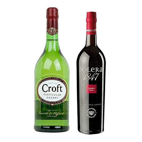 Vino Oloroso dulce Solera 1847 y Amontillado Croft Particular - D.O. Jerez - Mezclanza Gonzalez Byass (Pack de 2 botellas)
