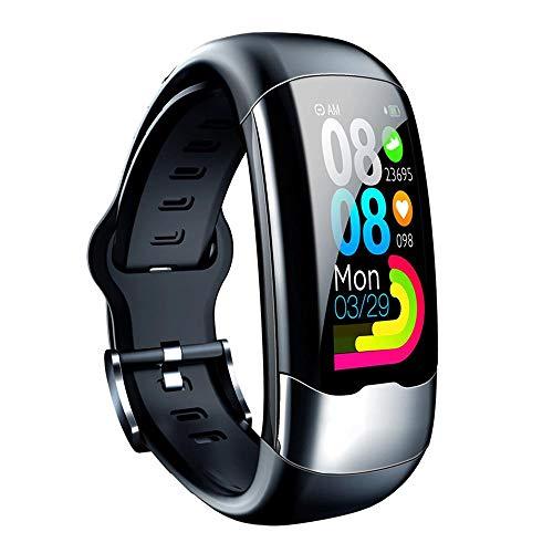 Iriisy Pulsera Inteligente,Smartwatch,Reloj Inteligente con Pulsómetro,IP67 Waterproof, ECG Ejercicio Monitoreo de Frecuencia Cardíaca Duración de la batería Pulsera Larga Carga Directa USB, Negro