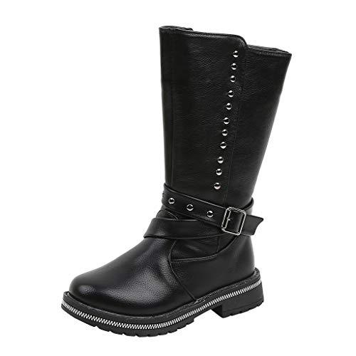 Brillanto Botas Altas Negras Niñas Invierno Botines Niñas Nueva Temporada Botas de Piel Zapatos Tallas 27-36