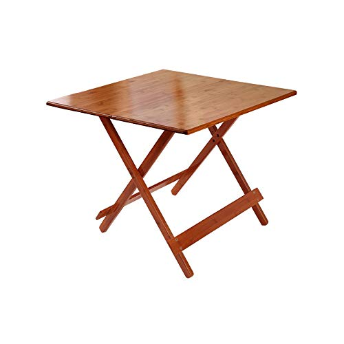 HANGYUAN Bamboo Square Durable Side Folding Coffee Table with Vintage Cherry Finish Perfect for Outdoor Indoor Ideal for The Backyard,Front Porch,Patio and Garden