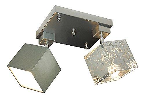 Plafonnier salon wero Design Vigo 027d Argent/marron clair 2 ampoules plastique Métal Pivotant Bar Convient pour LED Ampoule au format standard E27 Mix Silber/Dunkelgrau