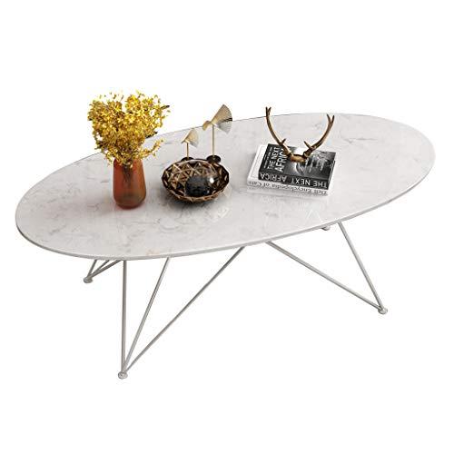 ZRXian-Kaffeetische Wohnzimmertische Couchtisch Ovaler Beistelltisch aus Marmor - Beistelltisch aus Schmiedeeisen mit weißem Metallgestell - Moderne Möbel