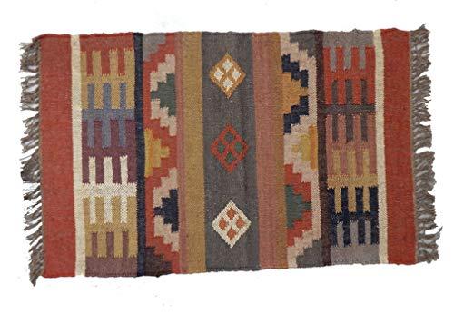 Alfombra hindú de Handicraft, alfombra reversible para zona étnica de 2 x 3, manta de yute boho, alfombra para alfombra, alfombra Kelim, alfombra de piso Kelim para decoración al aire última intervensión