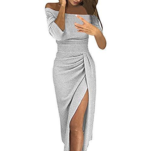 Vectry Vestido Largo Mujer para Noche y Fiesta Casual Algodón Ropa Top Falda Espalada Descubirta Dama de Honor Sexy y Elegante Verano de Novia Sin Manga y Un Hombro