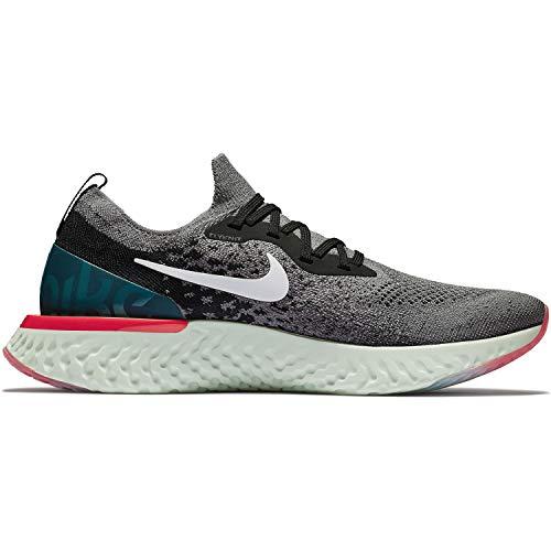 Nike Herren Epic React Flyknit Sneakers, Mehrfarbig (Gunsmoke/White/Black/Geode Teal 001), 42.5 EU