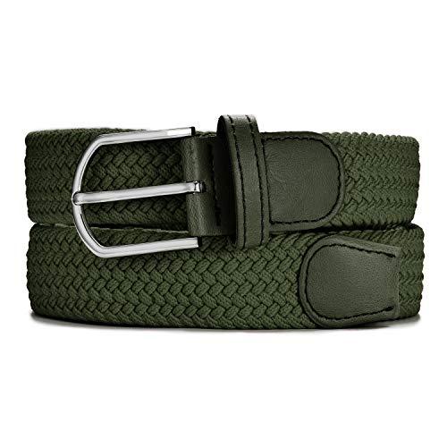MASADA Cinturón de tela - Cinturón stretch elástico para hombres y mujeres 3,2 cm de ancho 110 -120 cm de largo - Verde oliva