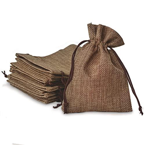 Normout Jutesack - Braune Jutebeutel, ideale Tüten zum befüllen für kleine Geschenke, Jutesäckchen , Organzabeutel Jute beutel Natürliche Jutebeutel unbedruckt , Organzasäckchen 10x15 cm 10 Stk