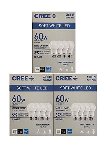 Cree 60 Watt Equivalent, Soft White, Dimmable, A19 LED Light Bulb, 12-Pack