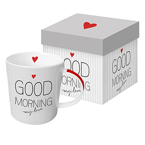 PPD Good Morning Love Trend Porzellantasse, Kaffeetasse, Kaffee Becher, New Bone China, Weiß / Grau / Rot, 350 ml, 603206