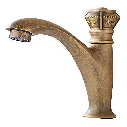 Kraan Basin Taps Traditioneel Antieke Koper Water Koud Wastafel Mixer Art Deco/Retro Badkamer Gouden Enkele Handvat Kraan Tap