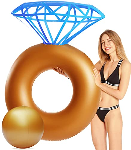 QDH Inflatable Diamond Ring Pool Float - Engagement Bachelorette Party Summer Swimming Pool Raft Huge Pool Float Lounge Beach Floaty Party Toys for Kids Adults