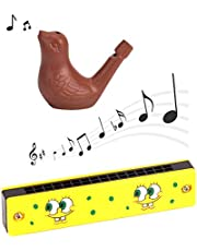 Simple Days Wooden Mouth Organ Harmonica Terracotta Clay Bird Water Whistle Musical Instruments (Combo of 2 Toys)