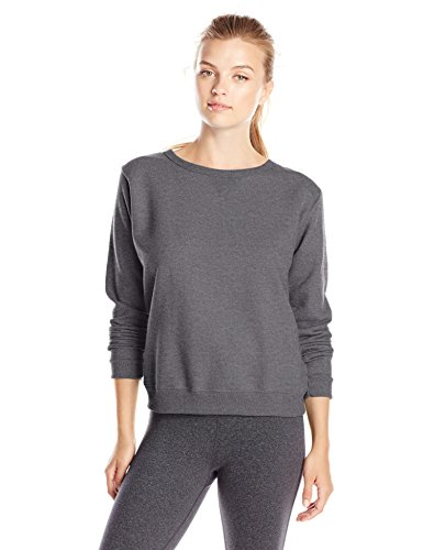 Hanes Women's V-Notch Pullover Fleece Sweatshirt, Slate Heather, Medium