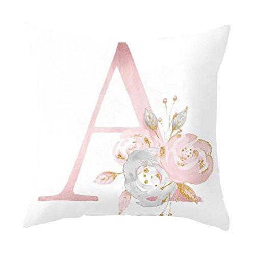 Dontdo, federa copricuscino con stampa floreale e lettere dell'alfabeto, ideale come decorazione per divano e auto A