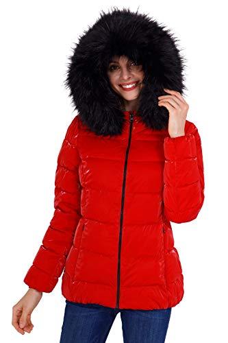 BELLIVERA Abrigo acolchado ultraligero para mujer, chaqueta metálica brillante con cuello de piel desmontable Abrigo abrigado Rojo S