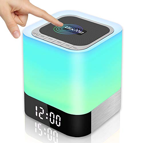 BixMe Night Light Bluetooth Speaker, Bedroom Alarm Clock MP3 Player,Touch Control Bedside Lamp,Multicolor Changing Table Lamp,TF/SD Support,Best Christmas/Birthday Gift for Teenage Girls/Boys