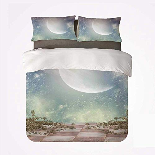 Zozun Duvet Cover Set Mystic Decor Warm 3 Bedding Set,Fantasy Landscape Stars Milky Way Half Moon Over The Sky View from Balcony for Room