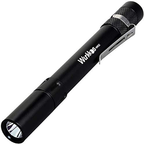 Wurkkkos WK02 - Mini linterna LED (5 mm, 300 lúmenes, ideal para uso en hospitales, personas mayores, consultas médicas), 4000 K, color negro