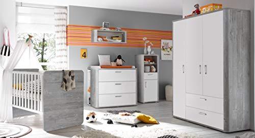 Babyzimmer Frieda in Vintage Wood Grey von Mäusbacher 6 teiliges Sparset mit Schrank, Bett mit Lattenrost und Umbauseiten, Wickelkommode und Seitenregal
